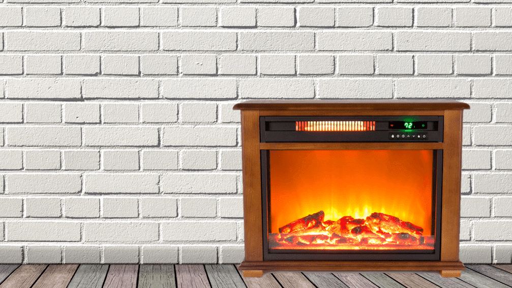LifeSmart Freestanding Electric Fireplace with Remote in Light Oak Stain Large Featured Image