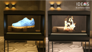 Picture of hologram electric fireplace displaying shoes and fire.