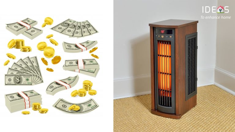Image of space heater and money